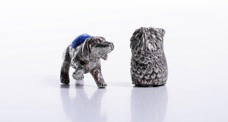 купить Пара игольниц в виде совы и собаки, металл, ткань, Западная Европа, 2000-2020 гг.