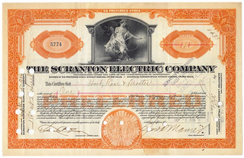 купить Акция США The Scrantion electric company 1933- 1936 гг.