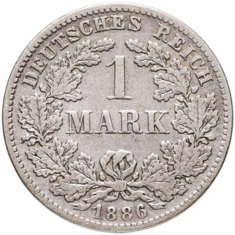 """купить Германия 1 марка (mark) 1886 F  знак монетного двора: """"F"""" - Штутгарт"""
