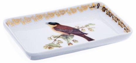 """купить Блюдечко для мелочей с  изображением птицы на ветке, фарфор, деколь, мануфактура """"Le Seynie porcelain"""", Франция, 1960-1990 гг."""