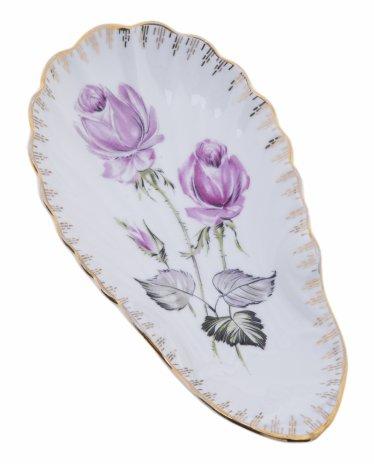 """купить Тарелка декоративная в виде морской раковины с изображением роз, фарфор, деколь, мануфактура """"LMLsur BERRY & LIMOGES"""", Франция, 1990-2010 гг."""
