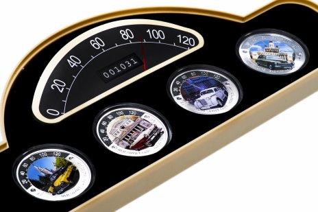 """купить Ниуэ набор из 4-х монет 2 доллара (dollars) 2008 """"Старые советские автомобили"""" в футляре, с сертификатом"""