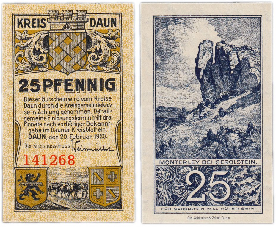 купить Германия (Рейнская провинция: Даун) 25 пфеннигов 1920 (B)