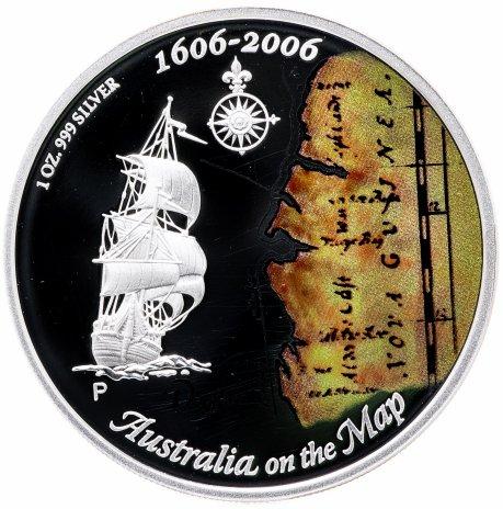 """купить Австралия 1 доллар 2006 """"400-летие открытия Австралии европейцами. Австралия на карте мира"""" с сертификатом"""