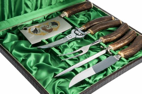 """купить Подарочный набор из 5 предметов, сталь, золочение, рог, фирма """"Eichenlaub"""", г.Золинген, Германия,  1960-1970 гг."""