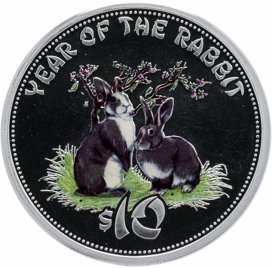 """купить Острова Кука 10 долларов 2011 """"Год кролика"""""""
