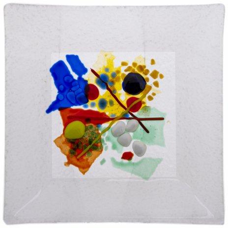 купить Тарелочка для мелочей с абстрактным цветным декором, цветное стекло, Россия, 2000-2015 гг.