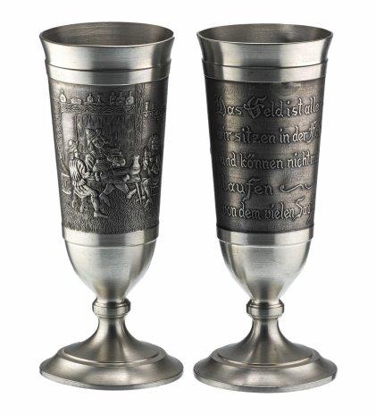 """купить Пара бокалов для вина с рельефным декором """"В таверне"""", олово, Германия, 1970-1990 гг."""