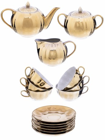 купить Сервиз чайный с градиентным крытьем на 6 персон (15 предметов), фарфор, крытье с золочением, СССР, 1960-1980 гг.