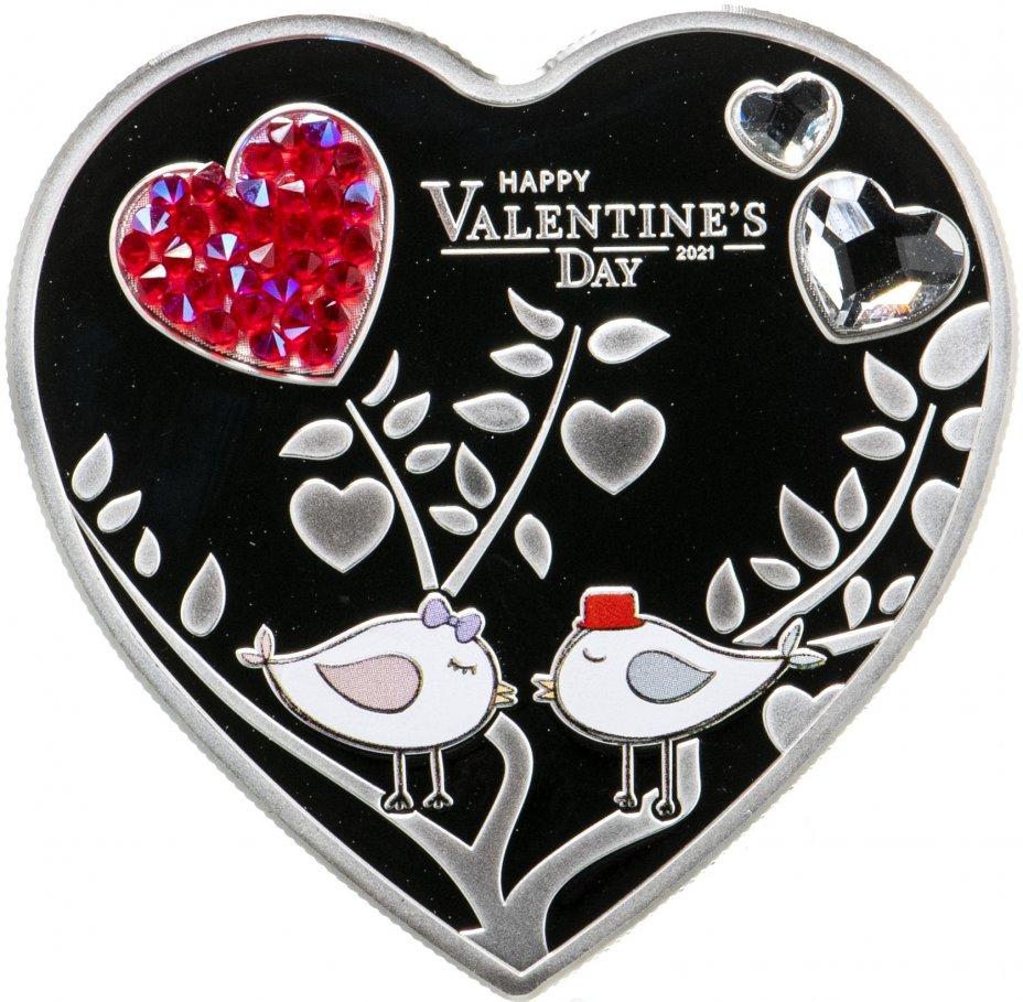 """купить Острова Кука 5 долларов 2021 """"Сердце День святого Валентина"""", в футляре с сертификатом"""