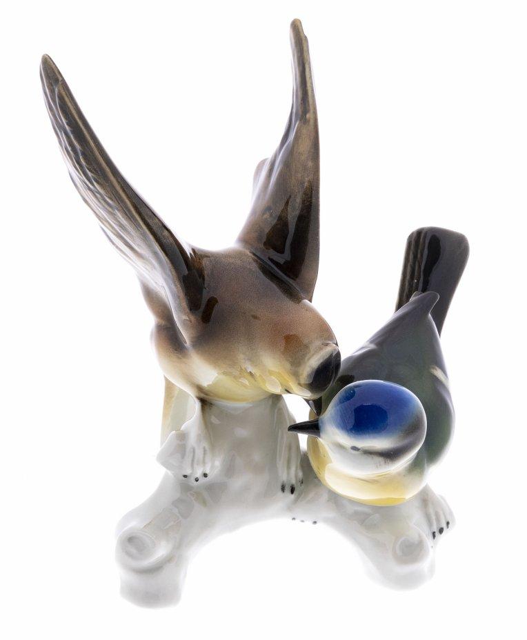 """купить Статуэтка """"Две птицы на ветке"""", фарфор, мануфактура """"Wagner&Apel"""", Германия, 1951-1974 гг."""
