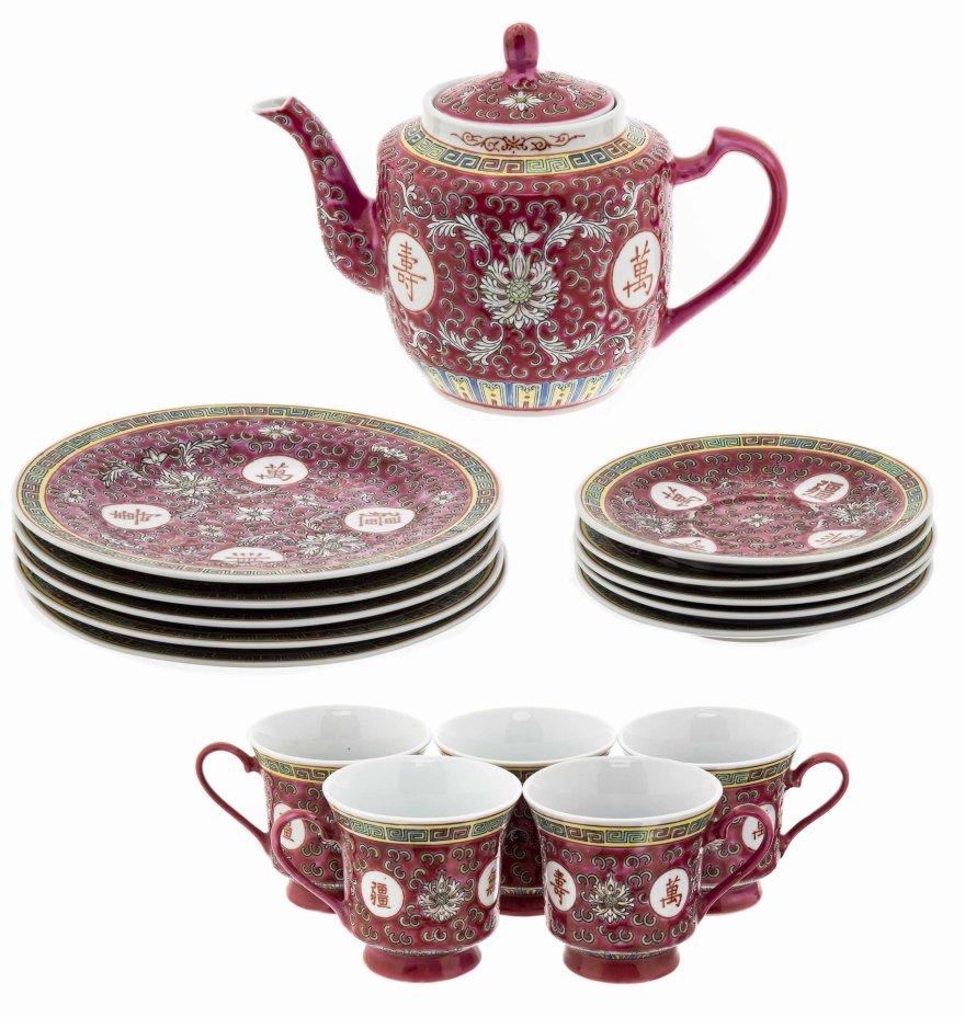 купить Сервиз чайный с рельефным цветочным декором на 5 персон (16 предметов), фарфор, роспись, глазурь, Китай, 1970-2000 гг.