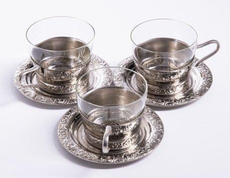 купить Набор чайных пар на три персоны с цветочным декором, мельхиор, стекло, СССР, 1970-1990 гг.