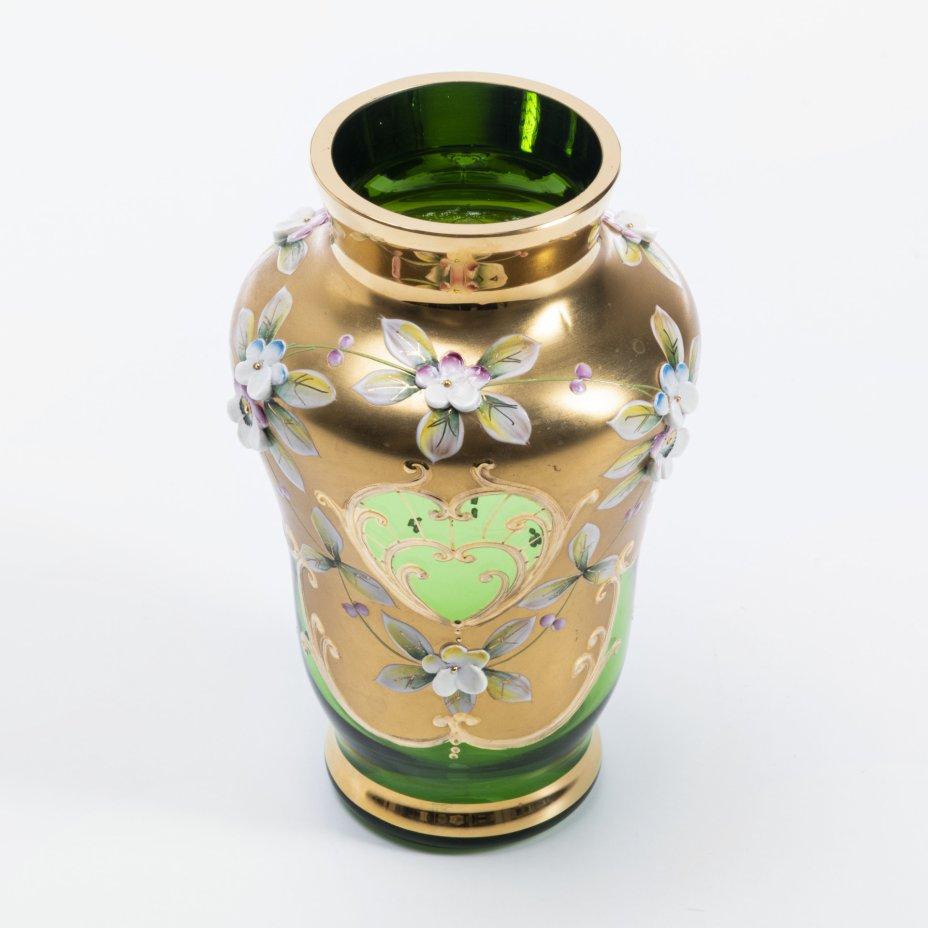 купить Ваза для цветов с лепным декором, стекло, золочение, Богемия, Чехословакия, 1970-1990 гг.