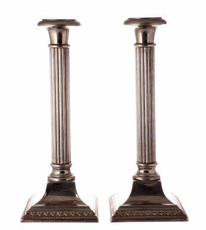 """купить Подсвечники парные, стилизованные под колонны, металл, серебрение, Вюртембергская фабрика металлических изделий (""""WMF""""), Германия, 1903-1920 гг."""