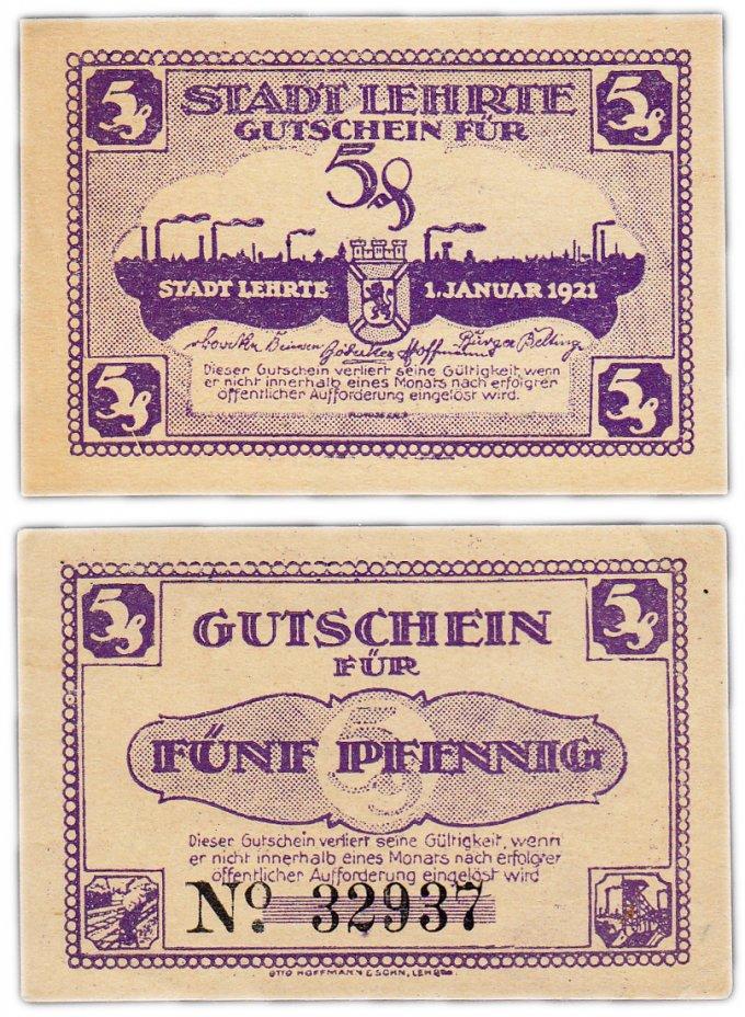 купить Германия (Ганновер: Лерте) 5 пфеннигов 1921 (В1)