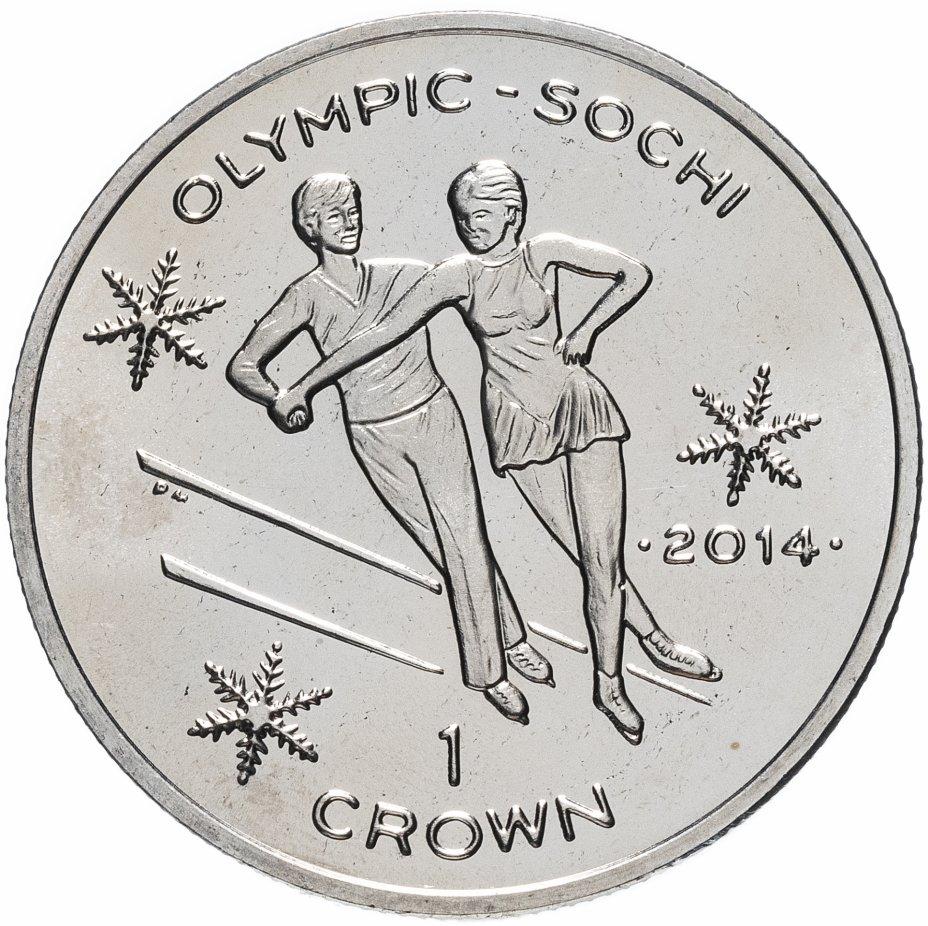 купить Остров Мэн 1 крона (crown) 2013 XXII зимние Олимпийские Игры, Сочи 2014 - Фигурное катание