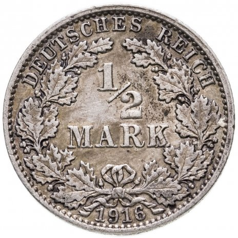 """купить Германия (Германская империя) 1/2 марки  1916 """"А"""""""