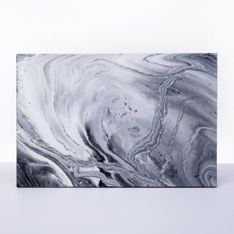 купить Картина «Иней на окне. Абстракция», авторская работа в технике Fluid Art, холст, акрил, художник Анна Лукьянова, Россия, 2021 г.