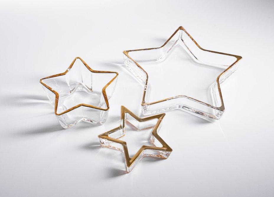 """купить Набор из трех вазочек (конфетниц) в форме звезды, стекло, золочение, мануфактура """"leonardo"""", Германия, 2000-2020 гг."""