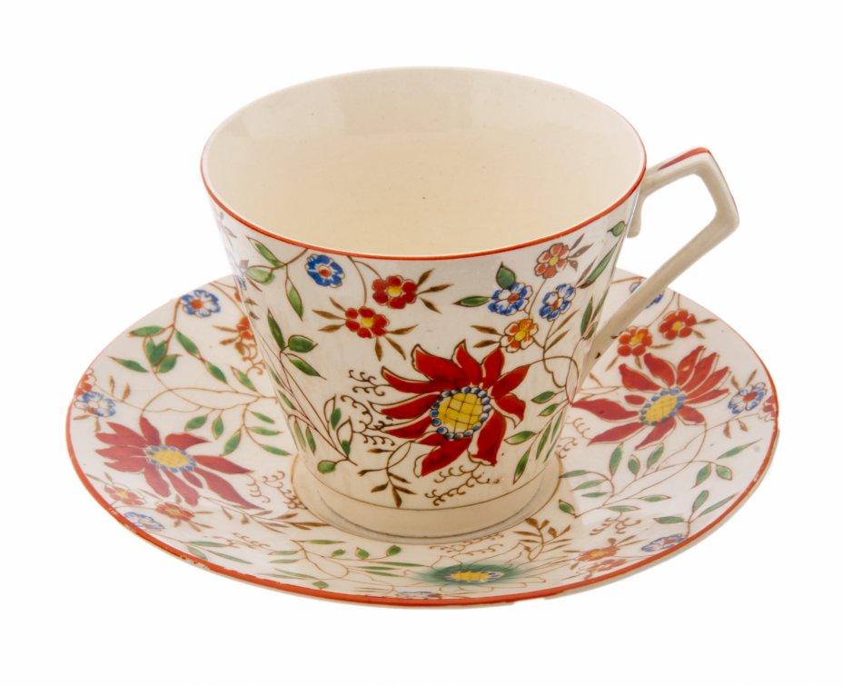 """купить Чайная пара с цветочным декором, фаянс, роспись, фирма """"Kentucky Royal"""", США, 1950-1970 гг."""