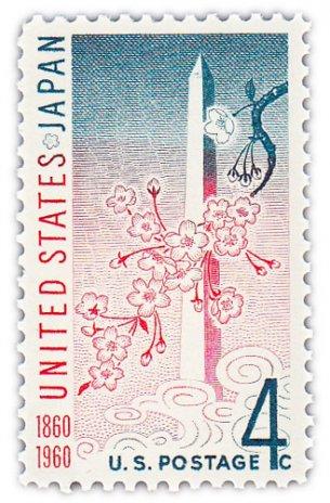 """купить США 4 цента 1960 """"Монумент Вашингтона и цветущая вишня"""""""