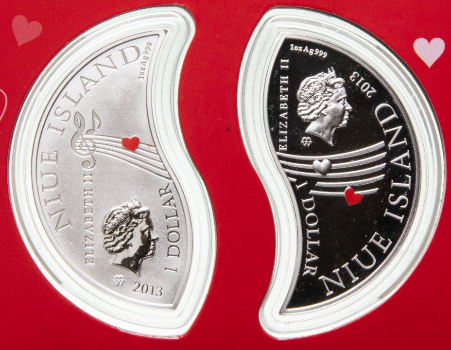 """купить Ниуэ 1 доллар 2013 года набор из 2-х монет """"Влюбленные"""", в футляре"""