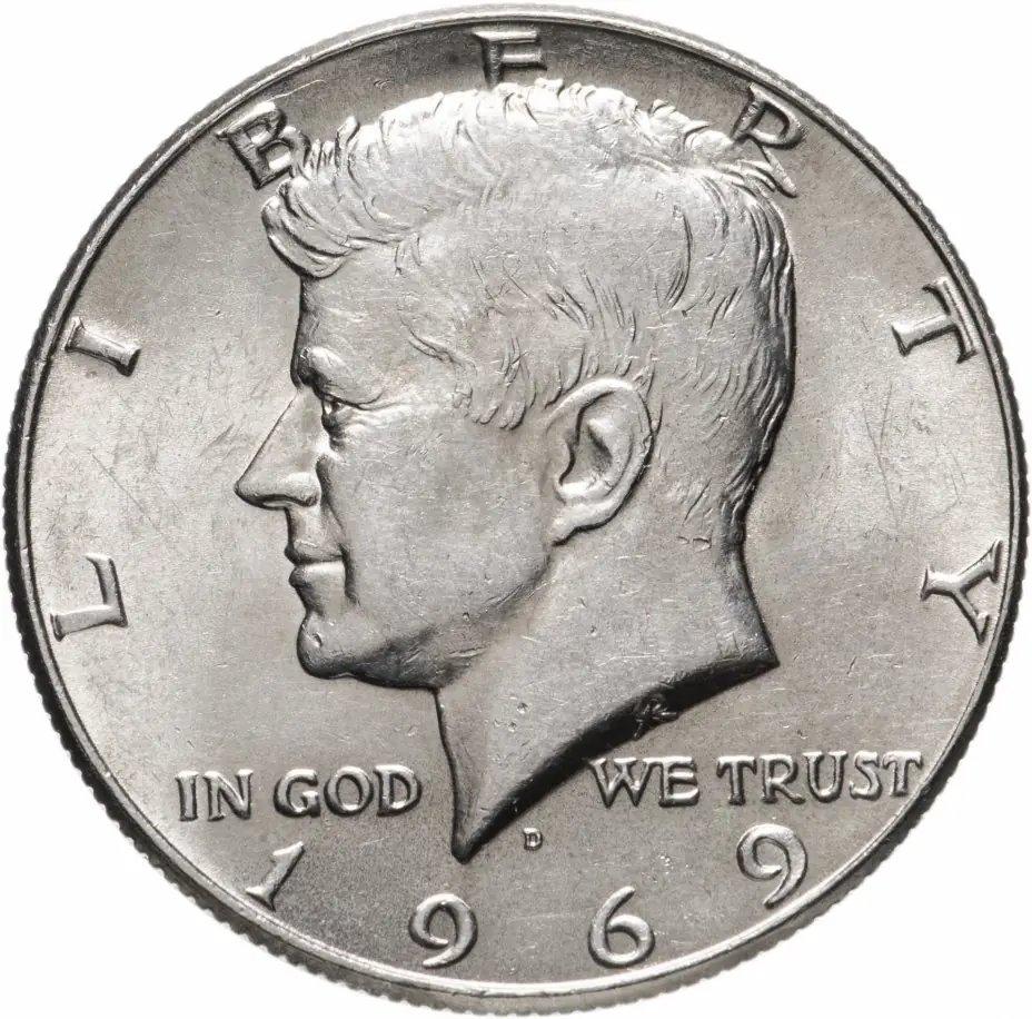купить США 1/2 доллара (полдоллара, 50 центов, half dollar) 1969 серебро Кеннеди