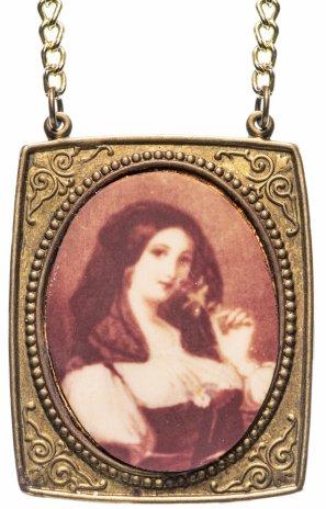 купить Кулон винтажный с подвеской и портретом юной красавицы, латунь, СССР, 1970-1980 гг.