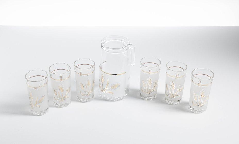 """купить Набор для напитков (Графин, 6 стаканов)  с изображением колосков, стекло, золочение, фирма """"Cerve"""", Италия, 2000-2010 гг."""