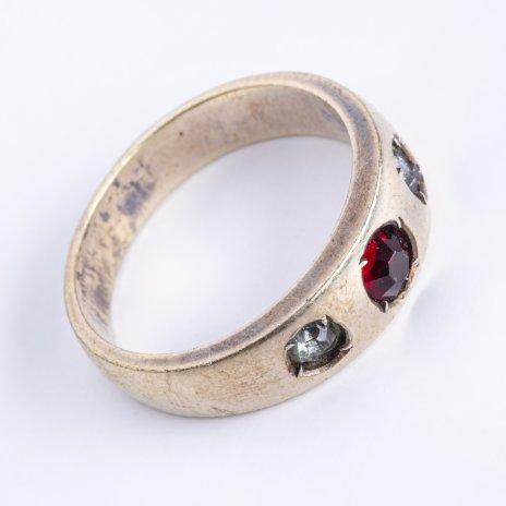 купить Кольцо лаконичной формы со вставками серого и красного цвета, серебро 875 пр., СССР, 1970-1990 гг.