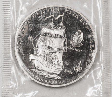 купить Россия жетон 250 лет открытия Русской Америки Беринг