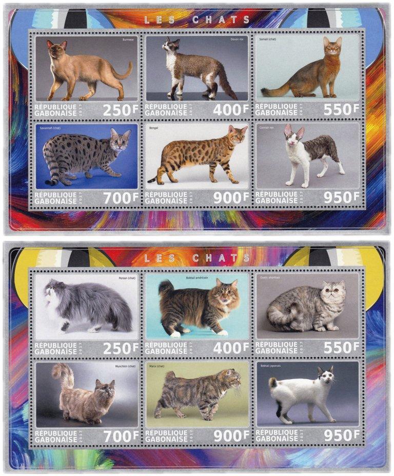 """купить Габон набор из 12 марок 2017 """"Животные:- Кошки"""", 2 малых листа"""