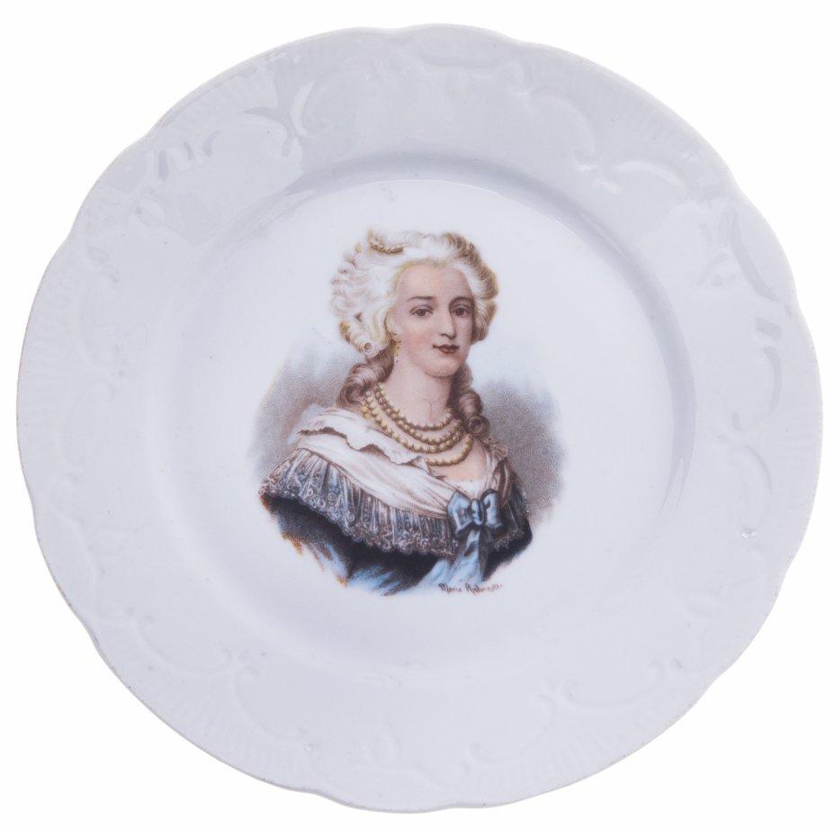 купить Тарелка декоративная с изображением Марии-Антуанетты, фарфор, деколь, Западная Европа, 1920-1940 гг.