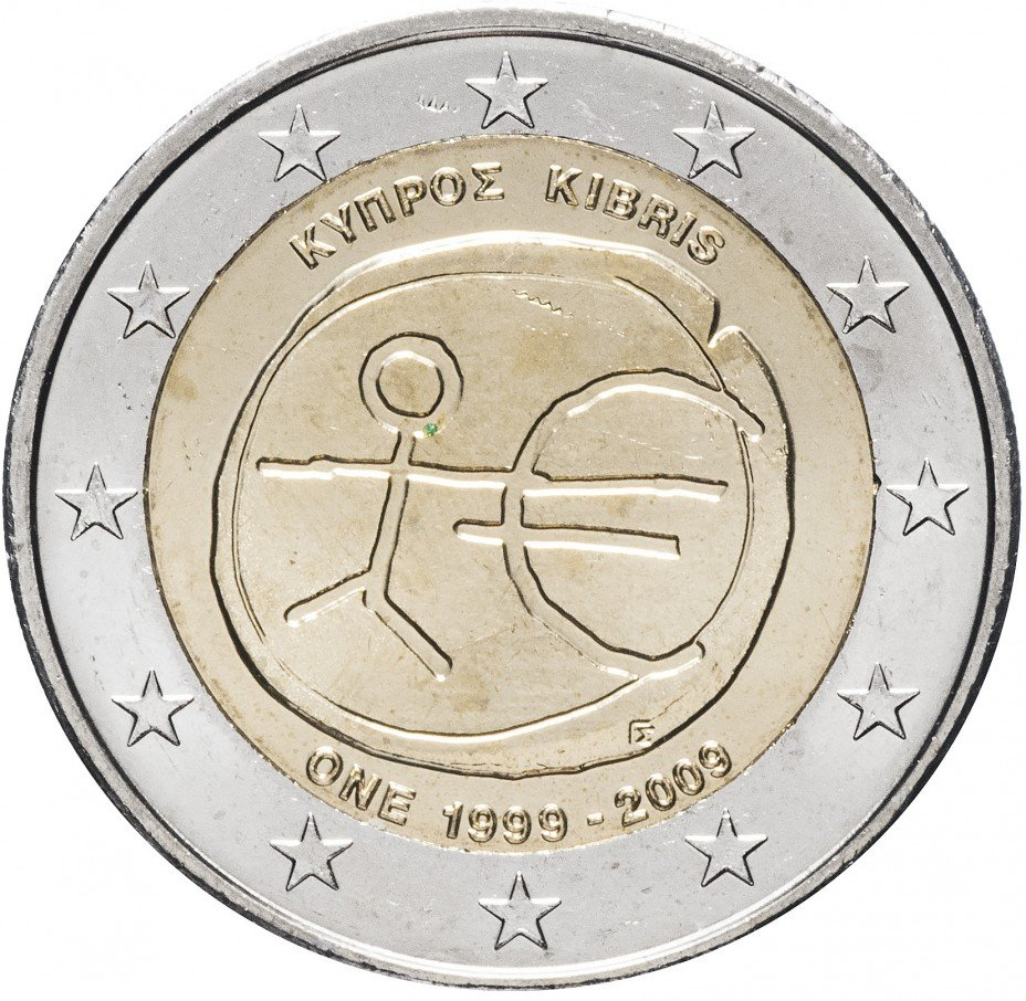 """купить Кипр 2 евро 2009 """"10 лет Экономическому и валютному союзу"""""""