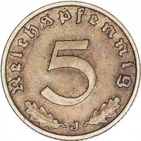 купить Третий Рейх Фашистская Германия 5 рейхспфеннигов 1939