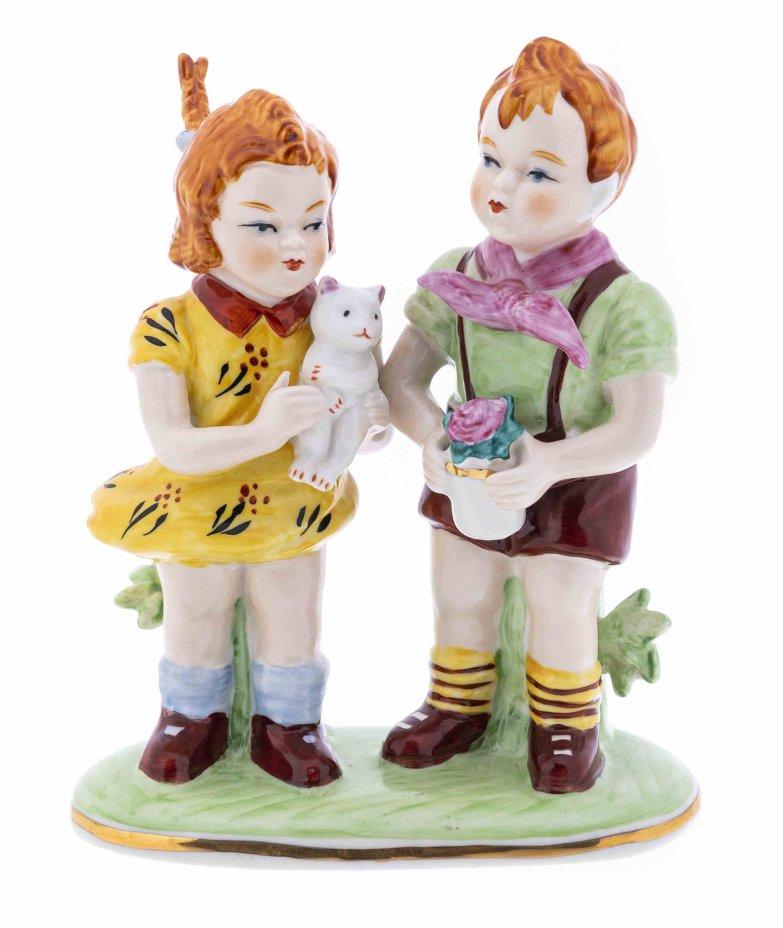 """купить Статуэтка """"Дети"""", фарфор, роспись, мануфактура """"Neundorf"""", Германия, 1960-1990 гг."""