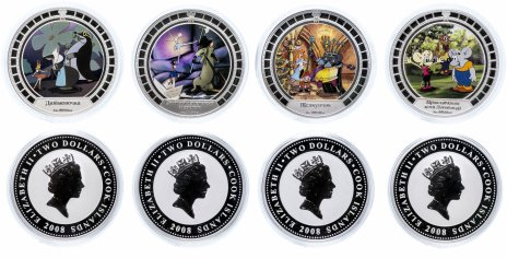 """купить Острова Кука набор из 4-х монет 2 доллара 2008 """"Советские мультфильмы"""" в футляре"""