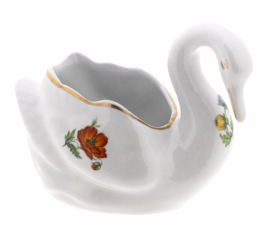 купить Салфетница в виде лебедя с цветочным декором, фарфор, деколь, золочение, г. Брюссель, Бельгия, 1970-1990 гг.