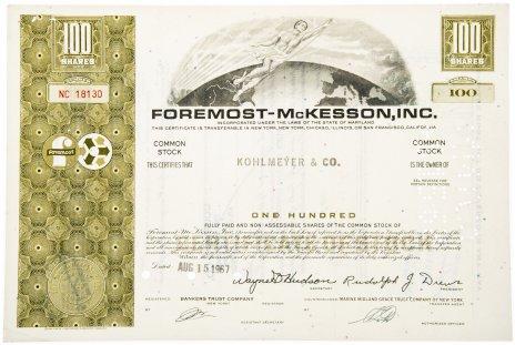 купить Акция США FOREMOST - McKESSON, INC. 1967