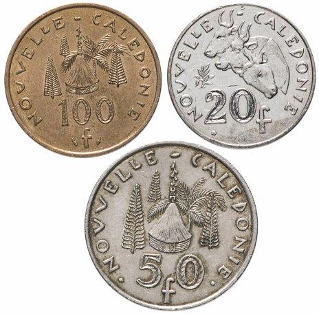 купить Новая Каледония набор 20, 50 и 100 франков 1972-2017, случайная дата