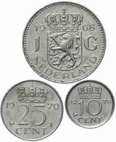купить Нидерланды набор 10, 25 центов и 1 гульден 1950-1980, случайные даты
