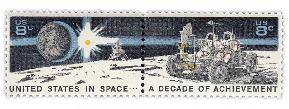"""купить США набор из двух марок 8 центов 1971 """"Соединенные Штаты в космосе, лунный ровер и астронавты''"""