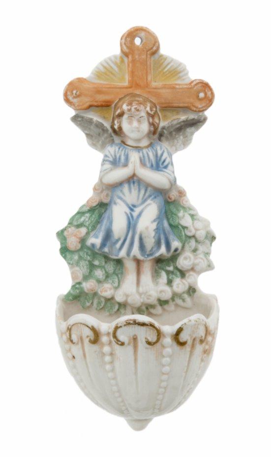 купить Сосуд настенный для святой воды декорированный фигурой ангела и крестом, фарфор, Западная Европа, 1910-1930 гг.