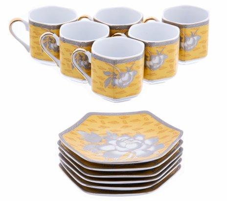 купить Набор кофейных пар с цветочным орнаментом на 6 персон, фарфор, деколь, Япония, 1990-2015 гг.