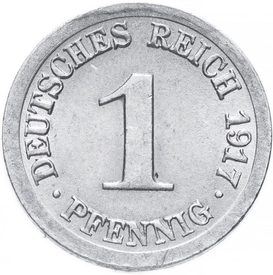 """купить Германия 1 пфенниг (pfennig) 1917 J  знак монетного двора: """"J"""" - Гамбург"""