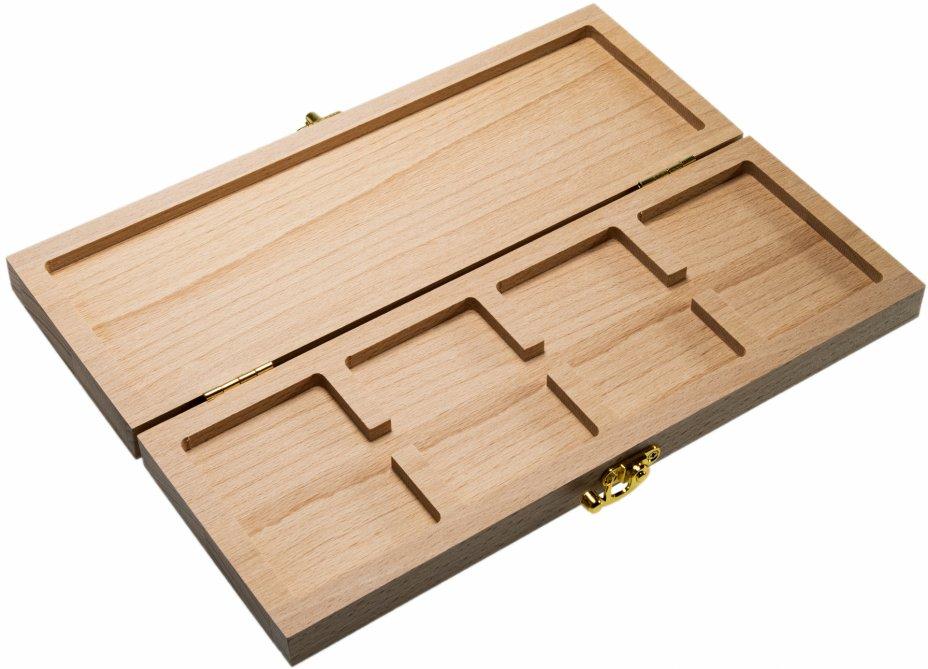 купить Футляр (бокс) деревянный для 4 монет в слабах (NGC, ННР) с навесной фурнитурой