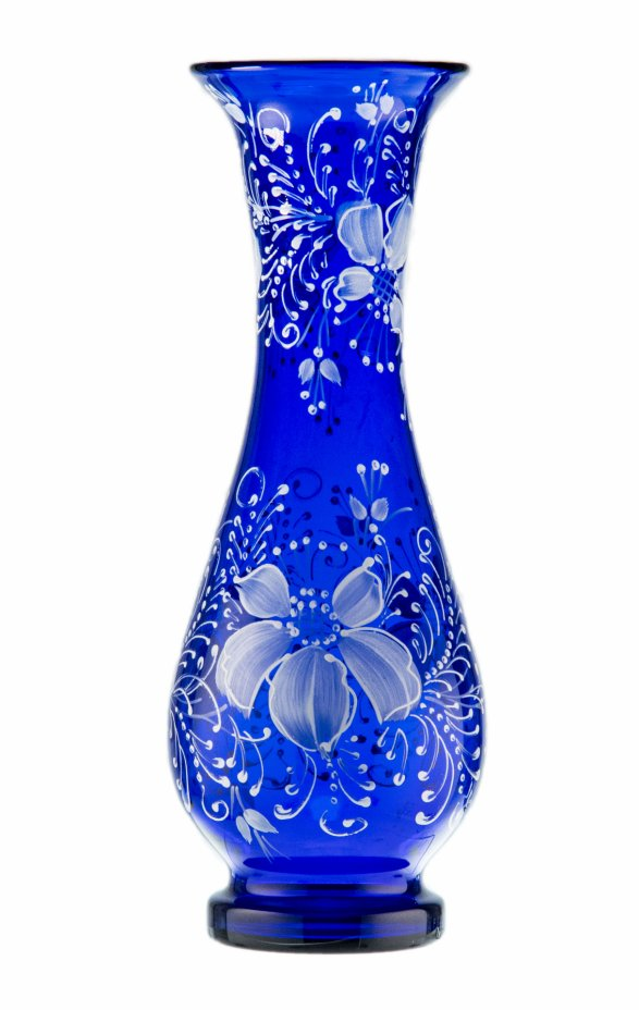купить Ваза из синего стекла с цветочной росписью, кобальтовое стекло, Богемия, Чехия, 1950-1970 гг.