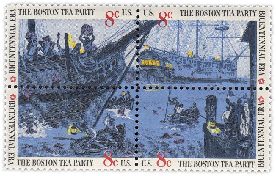 """купить США 1973 набор из четырёх марок 8 центов  """"Бостонское чаепитие''"""
