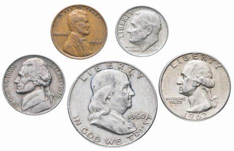 купить США комплект из 5 монет от 1 до 50 центов 1930-1964 гг.